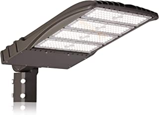 300W LED ShoeBox Pole Light Replacement (1000W HID Equal), 5000K CCT, 39,390 Lumen, 100-277VAC, Split Fit Mount, Surge Protector Included, Type III Distribution, IP65 Rated, DLC Qualified, UL Listed