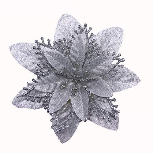 ACDE 10 Piezas 13cm Decoraciones de Flores Navideñas Artificiales Brillo Poinsettia Flores Falsas Adornos árboles Navidad con Clips (Plata)