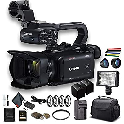 Canon XA40 Professional UHD 4K Camcorder (3666C002) W/Extra Battery, Soft Padded Bag, 64GB Memory Card, LED Light, Close Up Diopters, Lenses, and More Advanced Bundle (Renewed) by Canon