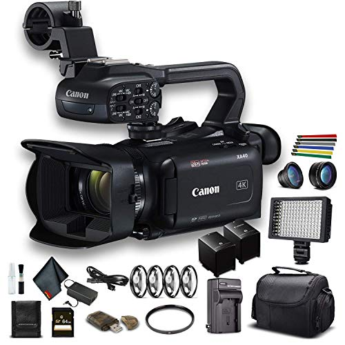 Canon XA40 Professional UHD 4K Camcorder (3666C002) W/Extra Battery, Soft Padded Bag, 64GB Memory Card, LED Light, Close Up Diopters, Lenses, and More Advanced Bundle (Renewed)
