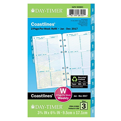 """Day-Timer Weekly Planner Refill 2017, 2 Page Per Week, Loose Leaf, 3-3/4 x 6-3/4"""", Portable Size, Coastlines (13903)"""