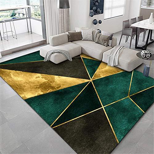 Alfombra Sala de Estar Suave Alfombra Baja Terciopelo Verde marrón Verde Mancha Resistente alfombras Salon Grandes decoración Infantil habitación 160X230CM 5ft 3' X7ft 6.6'