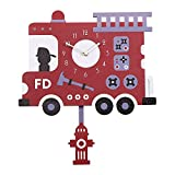 Decdeal Wall Clock Kids Room Decorative Clock with Unique Lovely Cartoon Shape (Basketball Board)