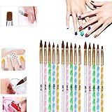 Uv gel acrílico nail art brush set 10/10/15 Piezas Nail Art Liner Brush Pen para Mujeres Niñas DIY Extension Gel Brush Nail Art Tips Builder Painting (15 pcs)