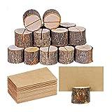Juego de 10 soportes para tarjetas, madera rústica con madera de corteza de madera, soporte para tarjetas, número, soporte para fotos, nombre, soporte para tarjetas, notas, para bodas, fiestas, mesa