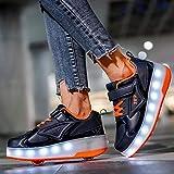 LED Zapatos con Ruedas Doble Ruedas Destellar Patines Luminosos Al Aire Libre Deportes Cross Entrenadores Gimnasia Zapatillas De Deporte Técnico Zapatos De Patinaje Para Niños Niñas,Blue Orange-39