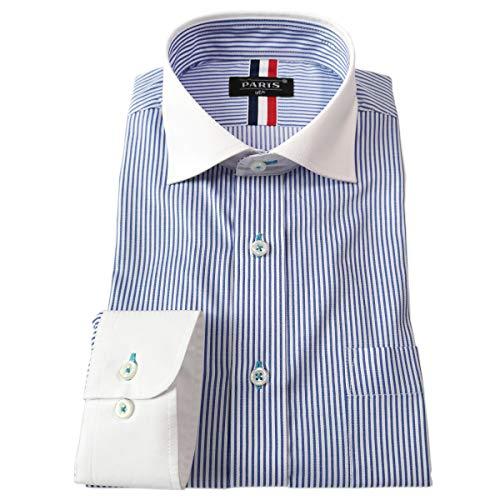 [パリス16ク] ワイシャツ メンズ 長袖 形態安定 ボタンダウン ドゥエボットーニ カッタウェイ クレリックブルーストライプ L 4