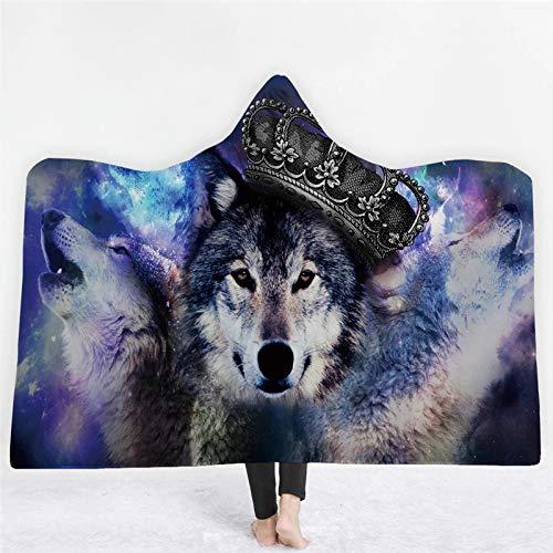 Zhengq 3D Animal imprimé Chat Couverture de Capuchon de Loup Tigre pour Adultes Enfants Chaud en Laine Polaire Portable Jette Couverture Microfibre sur Le canapé-130 * 150 cm