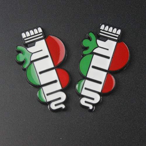 3D Metall Schlange Emblem Abzeichen Aufkleber, für Alfa Romeo Giulietta Spinne Stelvio Brera GT Giulia Mito 147 156 159 166 Auto Styling 2pcs (Black)