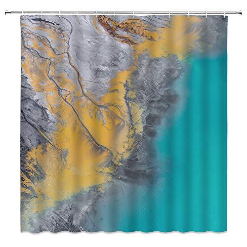 Abstrakter Duschvorhang, grau-blau, Marmorstruktur, Ozeanwellen, künstlerische Spritzer, kreative moderne Stoff-Badezimmerdekor-Sets mit 12 Haken, 180 x 180 cm
