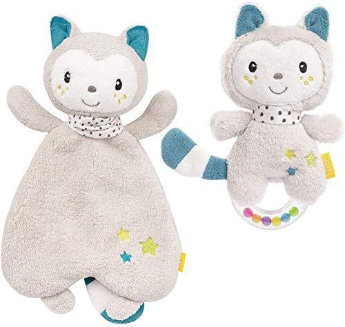 Baby Fehn Spar-Set Katze Schmusetuch mit Köpfchen & Katze Greifling zum Rasseln // 2er Set // Lebhafte Farben und Materialien //