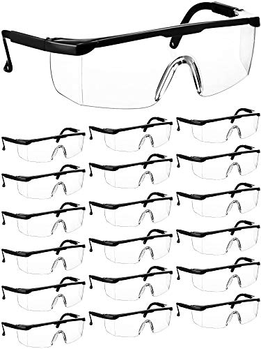 Black Workplace Safety Glasses Protective Goggles Eyewear Clear Splash Windproof Dustproof Goggles WrapAround Lenses and NoSlip Grips Protection for Workplace Industrial Class 18 Pieces
