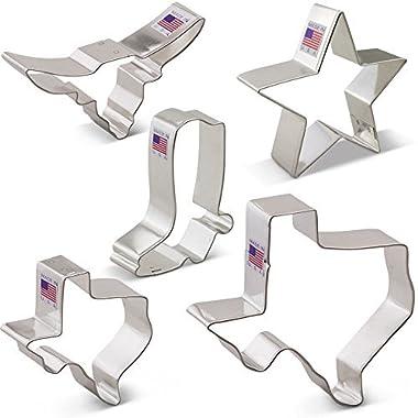 Texas Cookie Cutter Set - 5 piece - Texas 3  & 4 3/8 , Long Horn, Star, Cowboy Boot - Ann Clark - US Tin Plated Steel
