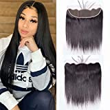 Maxine 13x4' Ear To Ear Lace Frontal Closure 130% Density Free Part Brazilian Virgin Straight Hair Extensions Lace Frontal With Baby Hair Bleached Knots Natural Color 18 Inches