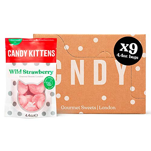 Candy Kittens Wild Strawberry Plant-Based Candy - Palm Oil Free, No Artificial Colors or Sweeteners, Natural Fruit Flavour Candy - Gummy Chewy Gourmet Sweets, 4.4 Ounce (Pack of 9)