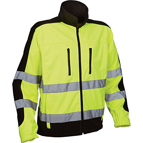 Hi Visibility Safety Reflective Wear Softshell Polyester Jacket, with Teflon Fabric Protector, Meets Ansi 107-2015, Class 3 OSHA, Polyester, XX-Large-50-52 Chest, Yellow/Black