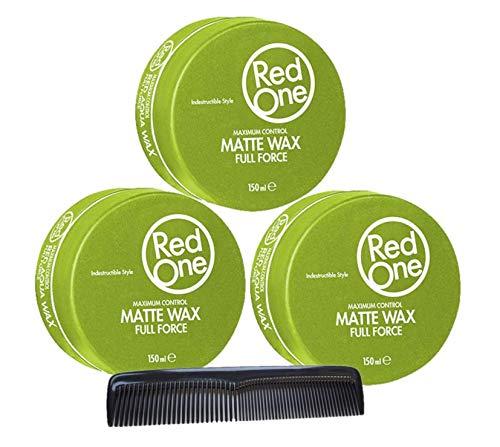RedOne Matte Wax Full Force Green 150ml 3 Stück + GRATIS Taschenkamm Stylingkamm Pomadenkamm