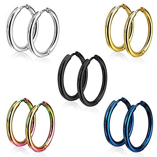 5 Pairs 15mm 316L Stainless Steel Huggie Hinged Hoop Earrings for Men Women, Jewelry Earrings Men Black round, Small Silver Hoop Earrings Set, Titanium Gold Earrings Men Ladies Clip on Studs Piercing