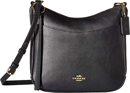COACH Polished Pebble Leather Chaise Crossbody Gold/Black One Size