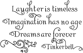 DNVEN DIY 24 inches x 22 inches Laughter is Timeless Imagination Has No Age Dreams Are Forever Home Vinyl Wall Decals Quotes Sayings Words Art Decor Lettering Vinyl Wall Art