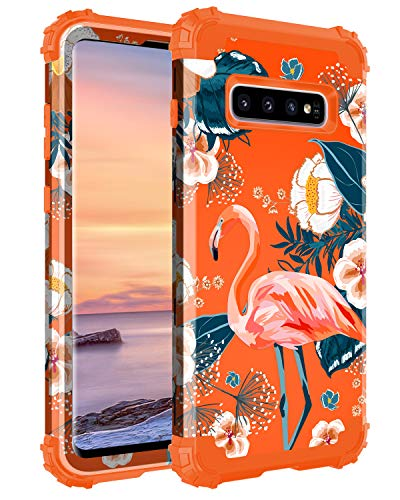 Casetego Compatible with Galaxy S10 Case,Floral Three Layer Heavy Duty Hybrid Sturdy Shockproof Full Body Protective Cover Case for Samsung Galaxy S10,Flamingo