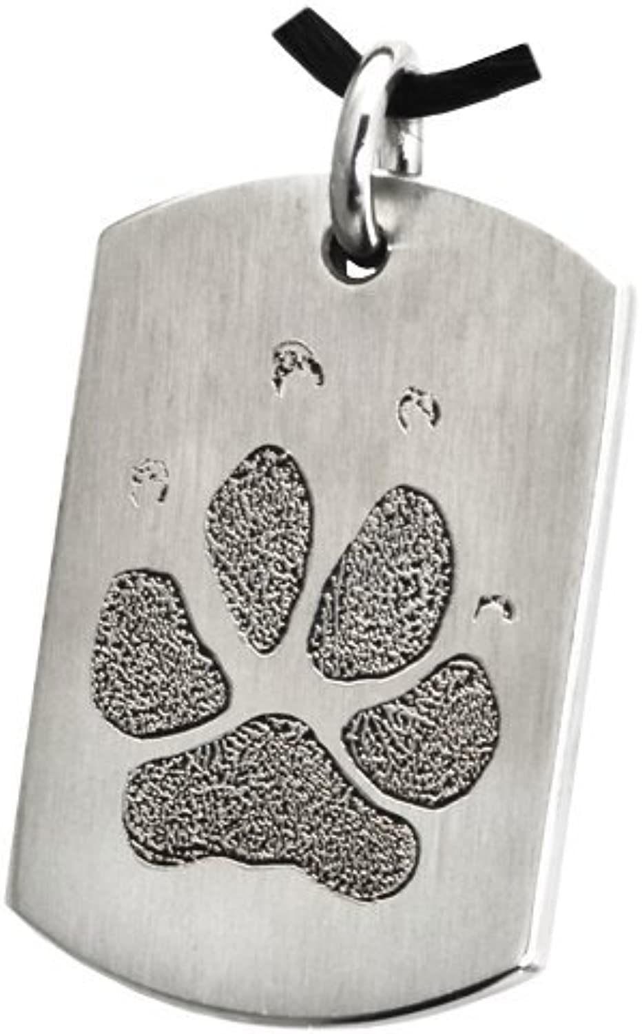 Actual Pawprint or Noseprint Flat Dog Tag Pendant (Pawprint, Stainless Steel)