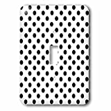 Polka Dot Designs - Black Polka Dots on White - Classic Retro fifties stylish spots pattern - Light Switch Covers - single toggle switch