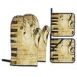 Ensemble de 4 Mitaines de Four et Porte-casseroles,Imprimer la Note et Les Touches de Pianos dans Le,Gants de Cuisine résistants à la Chaleur pour la Cuisson, la Cuisson, Les grillades, Le Barbecue