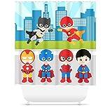 unknow Cortina de ducha Super-Hero para decoración de baño, cortina de ducha para niños, superhéroe, ciudad, línea de cielo