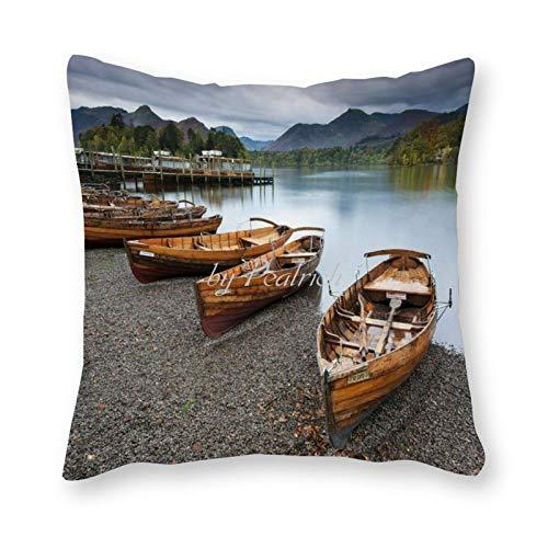 Viowr22iso Dekorative Kissenbezüge 45,7 x 45,7 cm, Cool Keswick See Boot Bootfahren Natur Kissenbezug Kissenbezug Home Decor für Couch Sofa Bett Stuhl