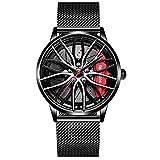 Reloj de pulsera creativo para hombre, reloj de pulsera para llantas de coche, reloj de pulsera, reloj deportivo resistente al agua, con rueda de coche, de cuarzo, Aguja de redecilla negra