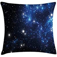 Hart.M Constellation Throw Pillow Cojín, Espacio exterior Nebulosa de la estrella Astral Cluster Astronomy Theme Galaxy Mystery, Funda decorativa de almohada decorativa cuadrada, 18 'X 18', Azul Negro