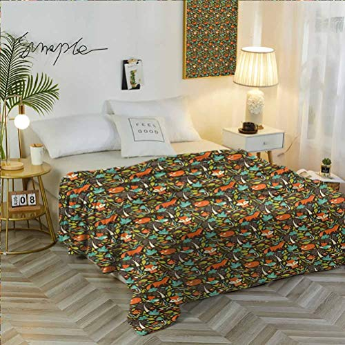 60' W x 91' L Fox Soft Flannel Blanket Ultra Soft Colorful Arrangement of Autumn Season Leaves and Petals Forest Inhabitants Pattern Multicolor