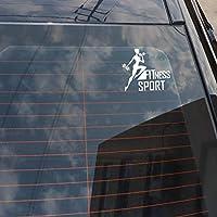 Djskhf 15.2 * 13.7Cmファッションフィットネストレーニング装飾シルエット車のステッカービニールグラフィック極端な動き 車の傷を カバー 隠す Red X 5Pcs