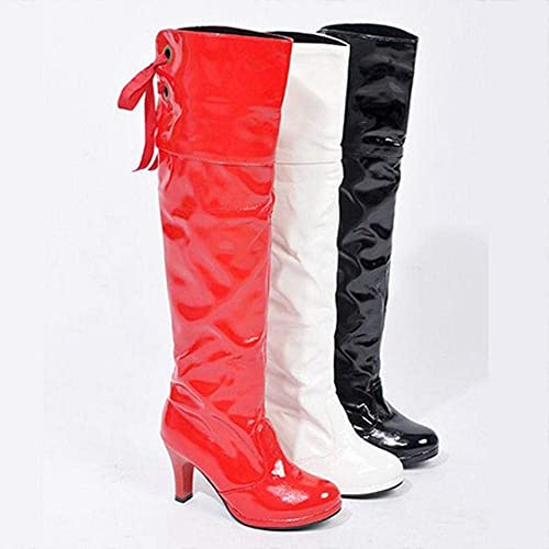 ZHRUI schuhe de damen - Stiefel Sobre la Rodilla para damen Stiefel de Invierno Stiefel Individuales schuhe de Gran tamaño para damen (Farbe   Weiß, tamaño   38)