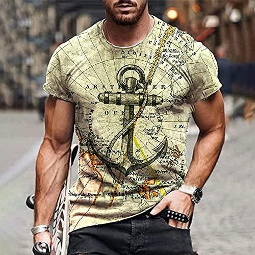 wefwef Modello di Ancoraggio Vintage Allenamento Bodybuilding T-Shirt per Uomo Comfort Workout Camicie umidità Wicking Active Athletic Shirts Short Sleeve Top, Giallo,XXL