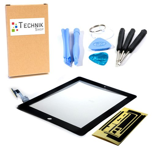 TechnikShop Digitizer für iPad 2 mit Touchscreen Display Glas Touch Displayglas schwarz