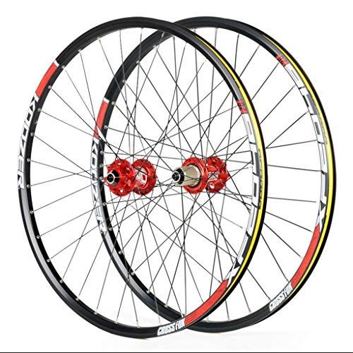 MZPWJD Roues de vélo pour 26 27,5 29 Pouces Paire de Roues de vélo de Montagne, Alliage Double paroi Quick Release Frein à Disque Compatible Shimano 8-11 Vitesses (Color : Red, Size : 27inch)