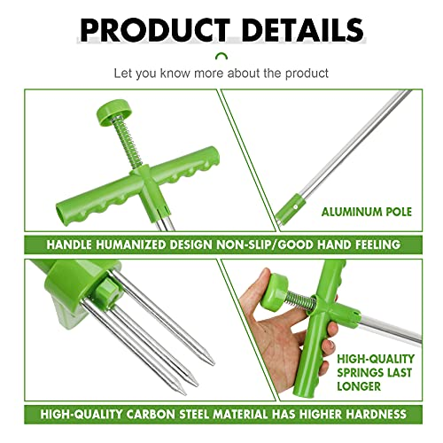 LEGENDTIMES Weed Puller Tool Stand Up Heavy Duty Dandelion Root Remover Tool Grandpas Weeder Standing Removal Gardening Tools Hand Weeding Popper Manual Picker for Garden Plant with Long Handle