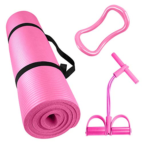 KPX Thick Yoga Mat 3 Piece Set - Include 1 Yoga Excersize Mat with Carrying Strap, 1 Pedal...