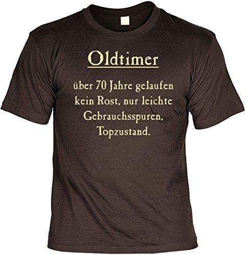 T-Shirt mit Urkunde - Oldtimer - Über 70 Jahre, Kein Rost, Top Zustand - lustiges Sprüche Shirt als Geschenk zum siebzigsten Geburtstag - NEU mit gratis Zertifikat!