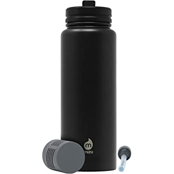 Mizu BPA Free 360 V7 Everyday Kit Water Bottle Wide Mouth with Leak Proof Straw Lid Double Wall Stainless Steel Vacuum Insulated 21 oz Water Filter Multiple Colors