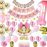 Wuudi Decoración de cumpleaños para niña, color rosa, 1 año, juego de decoración de primer cumpleaños con globos de princesa, color rosa