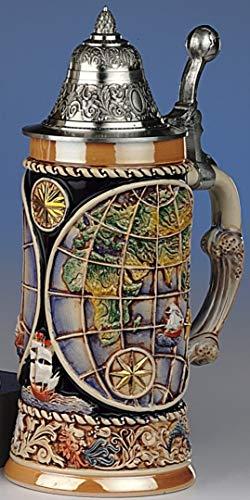 Tradicional-Jarra de cerveza Allemand-Globe Jarra 4 elementos, que giran en torno a la base, la tapa de estaño sea puntiaguda con globo base de 0,5 l
