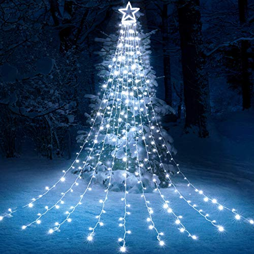 Toodour Christmas Lights, 317 LED 10ft X 9 Outdoor Christmas Decorations Lights with 12' Topper Star, 8 Lighting Modes Outside Christmas Tree Lights (White)