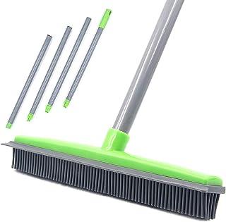 Push Broom Long Handle Rubber Bristles Sweeper Squeegee Edge 150cm Non Scratch Bristle Broom for Pet Cat Dog Hair Carpet H...