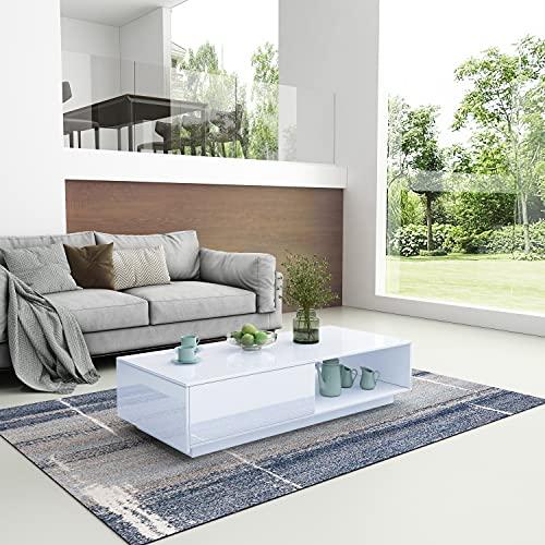 Mesa de centro de alto brillo moderna mesa auxiliar de salón con cajón de almacenamiento y estante abierto muebles para oficina en casa 95 x 55 x 31 cm (blanco)