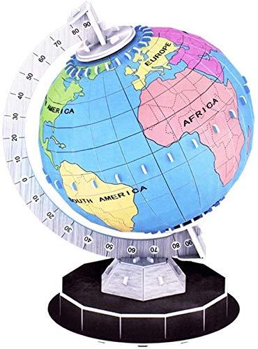 Globos 3D Modelo de Rompecabezas Tridimensional Manual Tierra Ensamblado Juguetes educativos Juego de Regalo Globo ensamblado Ayudas para la enseñanza Globos del Mundo con Soporte