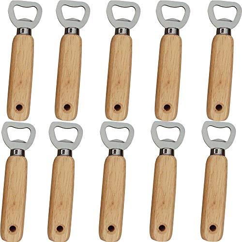 OurLeeme Abrebotellas, 10piezas Abrebotellas Mango de madera Abrebotellas de cerveza Portátil Duradero Abrebotellas de madera natural Gran regalo para hombres