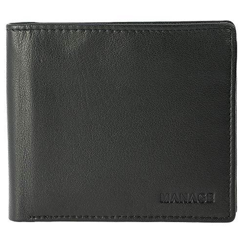 Manage Herren Geldbörse Scheintasche mit separater Kartenmappe 61303 Leder B11 x H9,5 cm x T2 cm, Farbe:schwarz